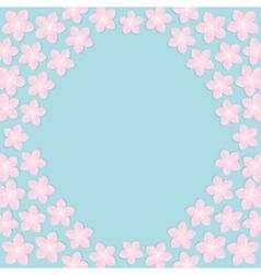 Sakura flowers round frame Japan blooming cherry vector image