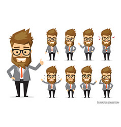 Set of emotions for business man vector