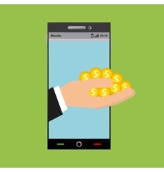 Smartphone device and gold coins vector