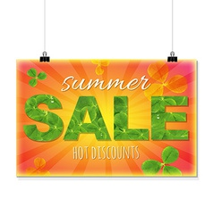 Summer sale banner with leaves vector