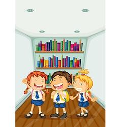 Three kids wearing their school uniforms vector image vector image