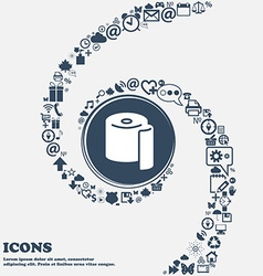 Toilet paper icon in the center around the many vector