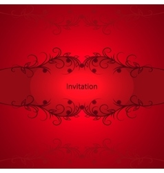 Vintage invitation card on red background vector image