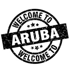 Welcome to aruba black stamp vector