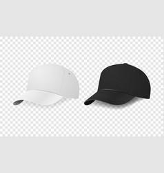 White and black baseball cap icon set design vector