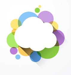 White paper cloud over color bubbles vector image