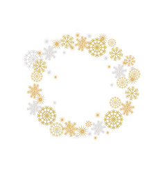 Winter frame with golden and silver fakes vector
