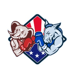 Democrat donkey republican elephant mascot boxing vector