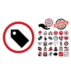 Tag flat icon with bonus vector