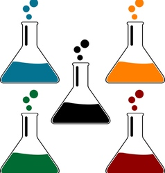 set of laboratory flasks vector image