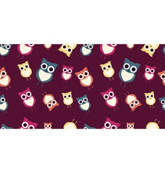 Seamless background with colorful owls vector