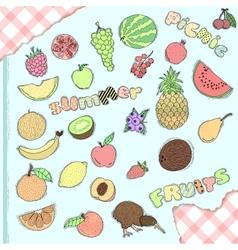 Set of hand drawn fruits vector image