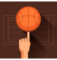 Sports of hand spinning basketball ball vector