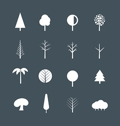 White tree silhouettes clip-art vector image