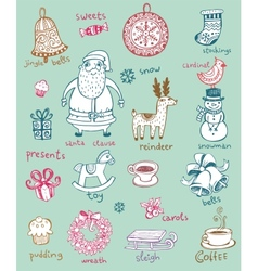 Christmas doodle symbols vector image