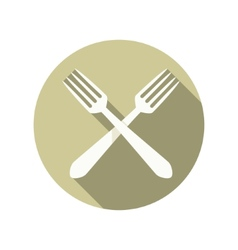 Two forks crossed icon vector