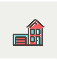 House with garage thin line icon vector