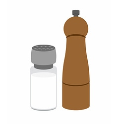 Salt and pepper shakers on a white background vector