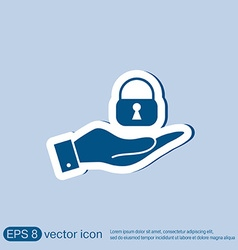 Hand holding a padlock vector