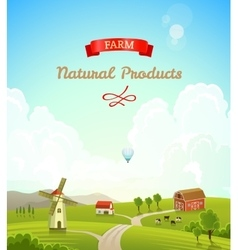 Farm rural landscape farm background vector