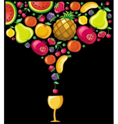 fruits combined in a shape of drink vector image