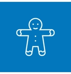 Gingerbread man line icon vector