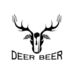 Deer beer negative space concept label vector