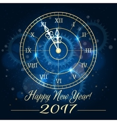 Happy new year blue clock background vector