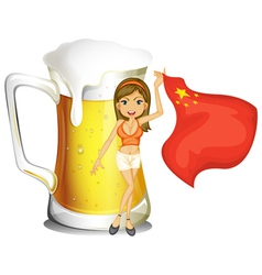 A girl with the flag of China in front of a big vector image