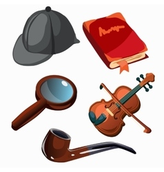 Attributes of professional detective Five items vector image vector image