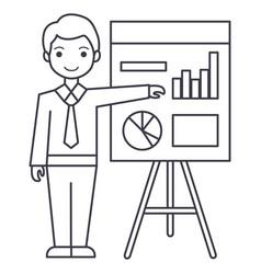 businessman showing presentation board line vector image vector image