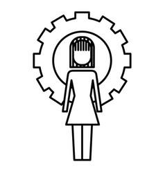 businesswoman work solution success gear vector image