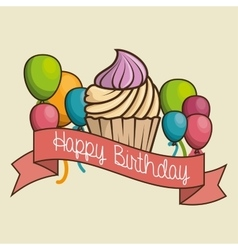 Cake sweet happy birthday desing isolated vector