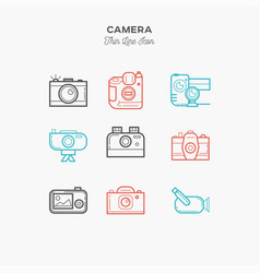camera video camera and more thin line color vector image vector image
