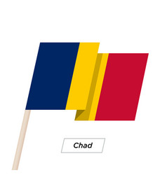 Chad ribbon waving flag isolated on white vector