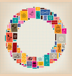 Collage doodle circle frame background vector