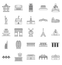 Construction icons set outline style vector
