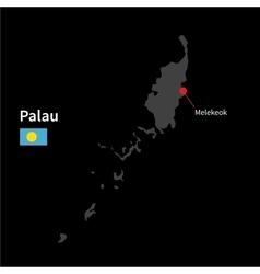 Detailed map of Palau and capital city Melekeok vector image