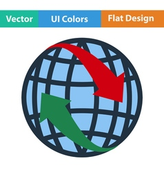 Flat design icon of globe with arrows vector