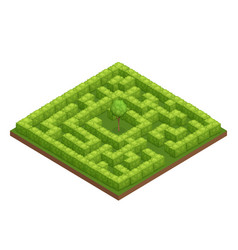 Garden labyrinth isometric composition vector