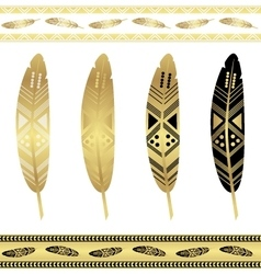 Gold flash tattoo ethnic seamless patterns vector image
