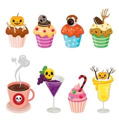 Halloween desserts and beverages set vector
