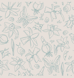 Hand-drawn flowers seamless pattern vector