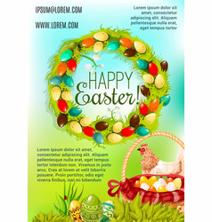 Happy easter day cartoon poster design vector