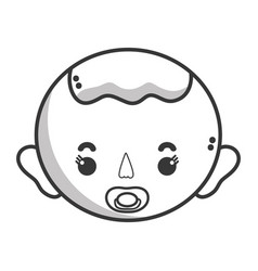 Line baby boy head with pacifier and hairstyle vector
