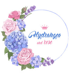 Luxurious hydrangea and roses vector