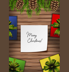 Merry christmas card with presents and pinecones vector