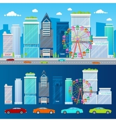 Modern Cityscape with Skyscrapers Ferris Wheel vector image vector image