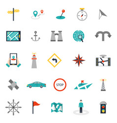 Navigation flat style location pin pictogram vector