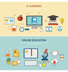 Online education and e-learning banner flat design vector